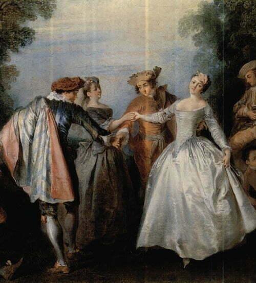 3.Nicolas Lancret  - Dance before a Fountain - detaille