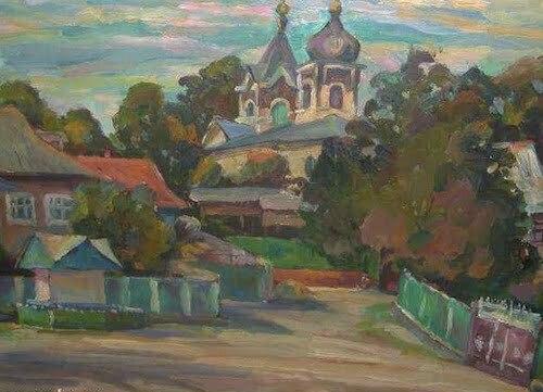 Peisaj cu biserica, pictor Liviu Hâncu