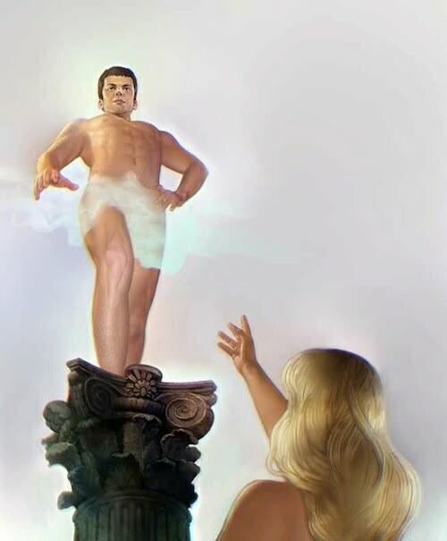 bărbat pe piedestal