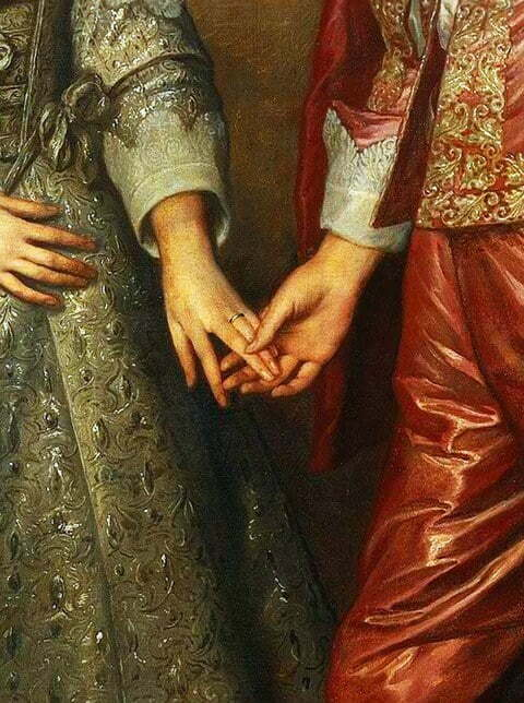 Portrait of William of Orange as a prince and his future bride Mary Stuart, detail, by Anthony van Dyck before 1641 in the Rijksmuseum, Amsterdam.
