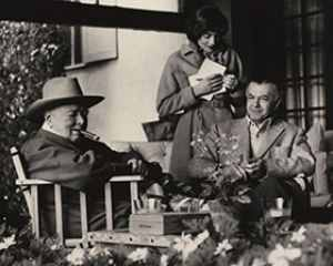 Churchill, his daughter Sarah and Emery Reves