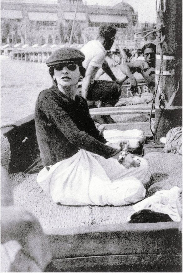 Gabrielle Chanel on Roussy Sert's yatch in front of the Lido of Venice 1936