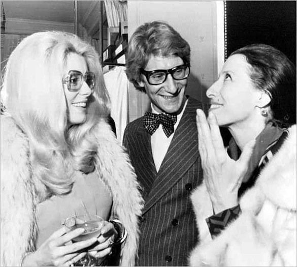 cu Yves Saint Laurent și Catherine Deneuve