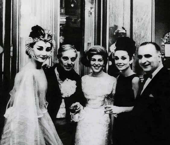 Countess Jacqueline de Ribes, Baron Guy de Rothschild, Baroness Marie-Hélène de Rothschild, Audrey Hepburn, and Georges Pompidou at Château de Ferrières, 1962