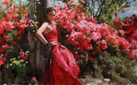 femeie in rosu