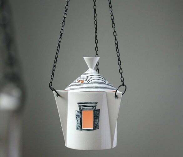 Ceramic Sparrow - casuta ceramica cu lumanare