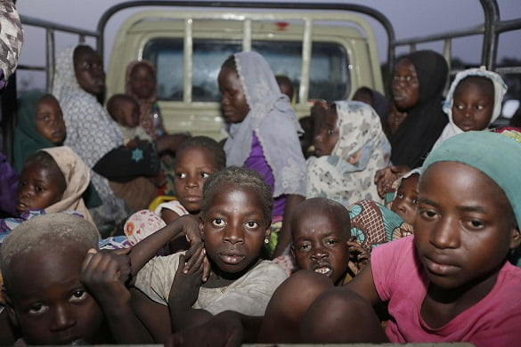 The first group of girls and women rescued from Boko Haram in May. Photo Associated Press