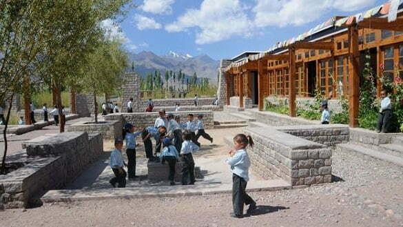 Elementary school children in the modern playground of the private-religious Druk White Lotus School, Shey, Ladakh, India