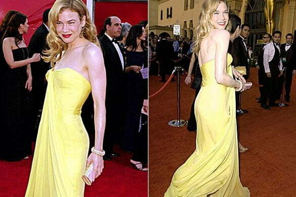 Renee Zellwegger - pastel yellow strapless Lily et Cie dress, Oscars (2001).