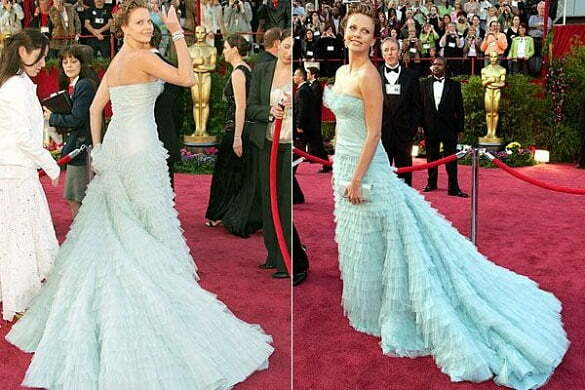 Charlize Theron - pale blue Christian Dior ruffle dress, Oscars (2005).