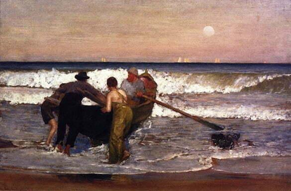 Louis-Comfort-Tiffany- Lansarea barcii la apa in Sea Bright, New Jersy