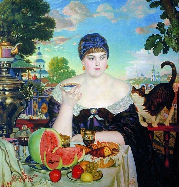 Boris Kustodiev - Nevasta nefutatorului la ceai -1918
