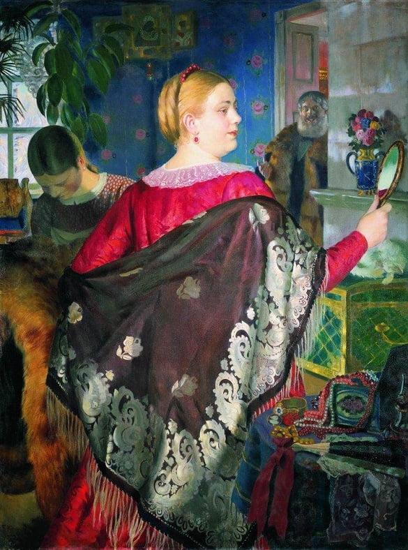 Boris Kustodiev - Nevasta negutatorului cu oglinda 1918