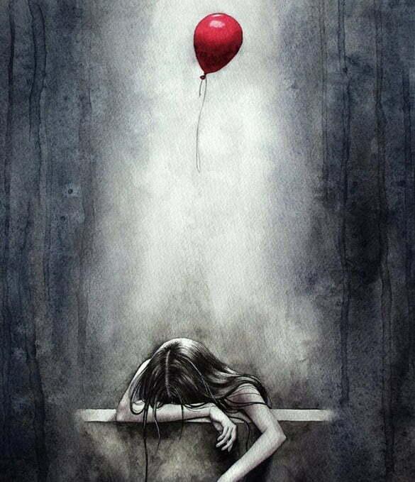femeie suferinta balon