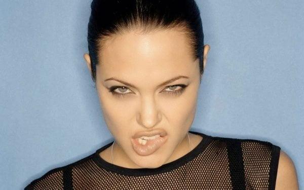 Angelina Jolie Sexy Sheer Biting Lip Wallpaper