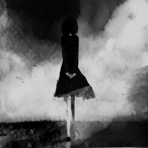 femeie silueta alb negru