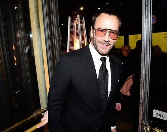 Tom Ford in trademark black suit for Milan Men's Fashion Week in 2016