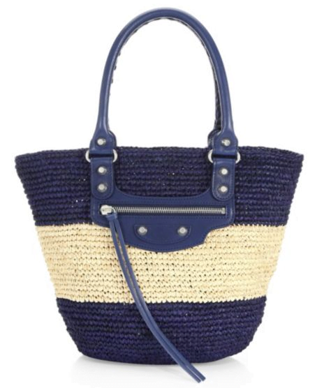 balenciaga-multi-Small-Panier-Raffia-Striped-Tote