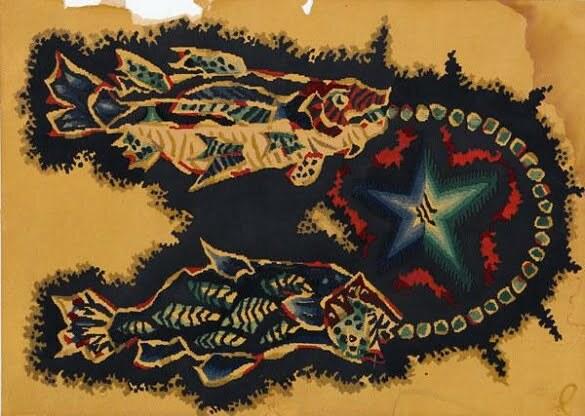 Jean Lurçat Seria zodiac Pești (litografie)
